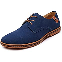 Calzado Casual de Moda para Hombre Gamuza Oxford Zapatos Planos de Cuero Zapatos de Vestir de Gran tamaño