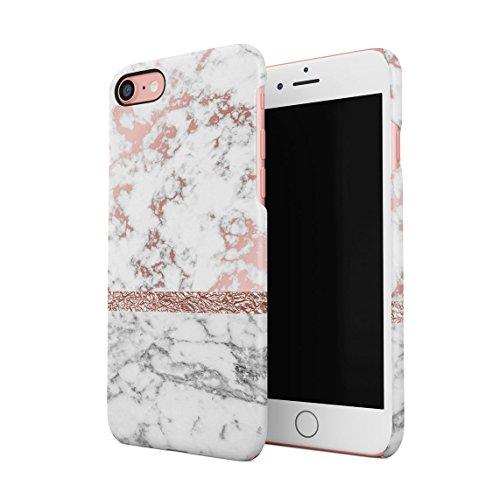 Rose Gold Roses On Black Marble Custodia Posteriore Sottile In Plastica Rigida Cover Per iPhone 7 & iPhone 8 Slim Fit Hard Case Cover RoseGold Line