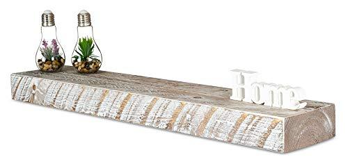 levandeo Wandregal Holz Massiv 100x20cm Shabby Chic Wandboard Vintage Rustikal Design Natur Regal Bord