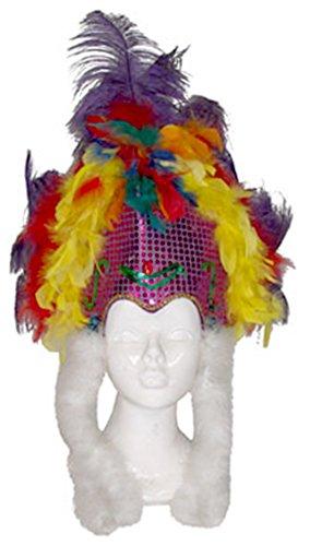 Confettery - Kostüm Accessoire- Samba- Federschmuck- Brasilianischer Karneval, Erwachsenen Kopfbedeckung, Mehrfarbig