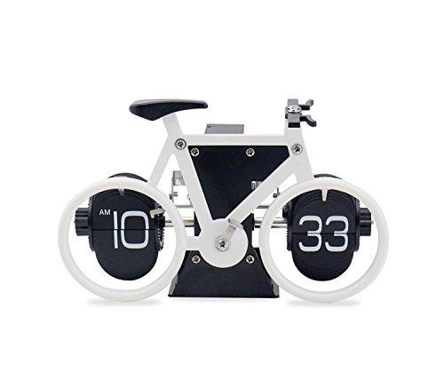 Preisvergleich Produktbild KRY Schreibtischuhr, Klappzahlenuhr, Weiß mit schwarzem Fahrrad