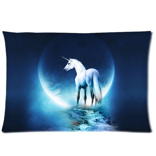 buythecase Einzigartiges Fashion Kissenbezüge Design Moon Night Einhorn Größe 50,8x 76,2cm Custom Kissen (eine Seite drucken Satin Stoff) 20 X 30 inch Moon Night Unicorn - Paisley-satin-kissenbezug