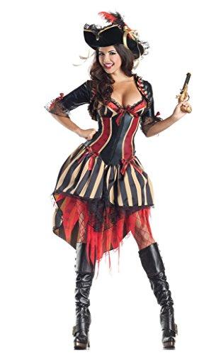 Piraten Kostüm Piratinkostüm Reizvolle Reizend Kostüm Halloween-Piraten-Adult Sexy Kostüm Damen (Damen Sexy Piraten Kostümen)