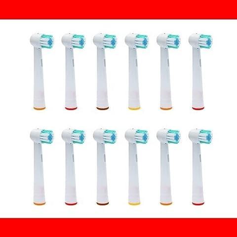12 Pieza - Recambio para Cepillo eléctrico Compatible y en forma Braun ORAL B/OralB/Oral-B (Todos los modelos OralB / Oral-B Braun cabeza cepillo redondo) - compatible por ejemplo, con: Oral B Triumph, Vitality, ProWhite, Sensitive + Clean, White + Clean, Professional Care, Precision Clean, SmartSeries, Black, Center, Oxyjet, Center, TriZone, Advance Power, Advance Power Kids, Stages Power, Precision Clean, Dual Clean, Pro Health, Plak Control, 3D Excel, Interclean IC2522, ID2021, ID2025, ID2025T, altri tipi compatibili: 3711, 3725, 3728, 3731, 3738, 3744, 3745, 3756, 3757, 3709, 4729, 4730, 4731, 4733, 4736, 4739, 4740, 4712, 4713, 4716, 4721, 4725, 4726, 4727, 4728,