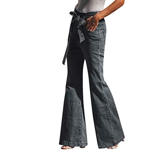 Malloom-Bekleidung Frauen Herbst Elastic Lose Denim Bow Lässige Boot Cut Jeans High Waist Jeans Straight Slim Denim Stretch Lang Jeanshosen - Denim Frauen Bekleidung Für