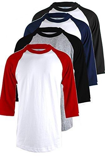 Über Baseball-t-shirt (OLLIE ARNES Herren Basic Rundhals 3/4 Ärmel Baumwolle T-Shirt Raglan Baseball Top, Herren, 4 Pk: Whblk Whnav Ltgrblk Whred, Large)