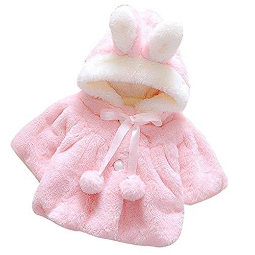 ZYCX123 Baby-Winter-Warmer Mantel Rabbit Ears verdickte Plüsch-Jacken-Mantel Hoodies Oberbekleidung für 0-9 Monate Mädchen - Pink (Monat Jacke Mädchen 9)