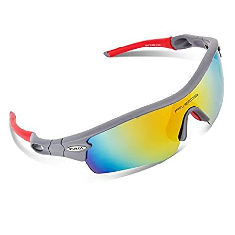 RIVBOS 805 Polarized Sports Sunglasses Glasses with 5 Interchangeable Lenses for Cycling(Grey&Red)