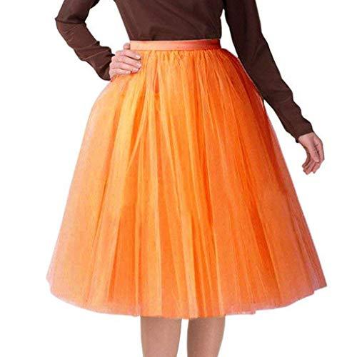 WOZOW Damen Tuturock Multi-Schichten Elegant Kleid Tüllrock Brautrock Abendkleid Festliche Karneval Fasching Kostüm Röckchen Frauen Tanzkleid ()