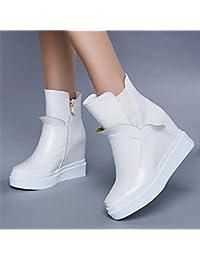 Botas de la mujer confort PU Otoño Invierno confort informal 5en blanco y negro,Blanco,US7.5 / UE38 / UK5.5 / CN38