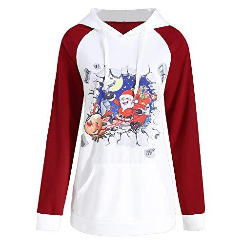 Yanhoo Damen Kapuzenpullover Strick Weihnachten Print T-Shirt Langarm Knit Sweater Pulli Tops Oberteile Sweatshirt Blouse Hoodie