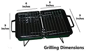 ATHENACREATIONS Charcoal Base Portable Carbon Steel Folding Barbeque Grill Toaster,Black