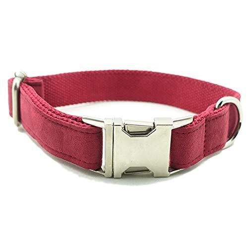 QitunC Hund Halsbänder Reißfest Einstellbare Flannelette Geflochten Metall Schnalle Haustier Hundehalsband Aspicture S -