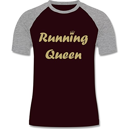 Laufsport - Running Queen - zweifarbiges Baseballshirt für Männer Burgundrot/Grau meliert