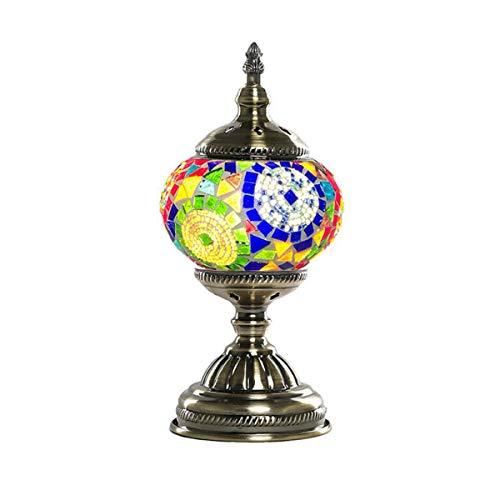 Marokkanische Schlafzimmer Dekor (GDLight Türkische Marokkanische Mosaik Tischlampe Kreative Europäische Handgemachte Bunte Schreibtischlampe für Wohnzimmer Schlafzimmer Kaffee Dekor, E14)
