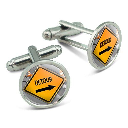 detour-arrow-stylized-orange-grey-caution-sign-mens-cufflinks-cuff-links-set
