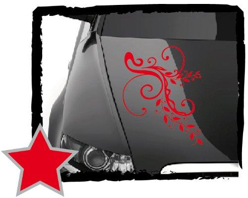 DD Dotzler Design - V1 Blumenranke - 34 x 23 cm - Autoaufkleber - rot (Designs 34)