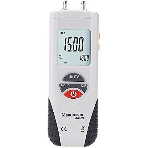 KKmoon Mini LCD Digitale Manometro Manometri Differenziale Aria Pressione Meter ±2Psi Dati Tengono 11 Unità - Manometro Differenziale