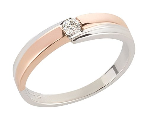 Ardeo Aurum Damenring aus 375 Gold bicolor Weißgold Rosegold mit 0,1 ct Diamant Brillant Verlobungsring Solitär (2 Karat Diamant Solitaire Ring)