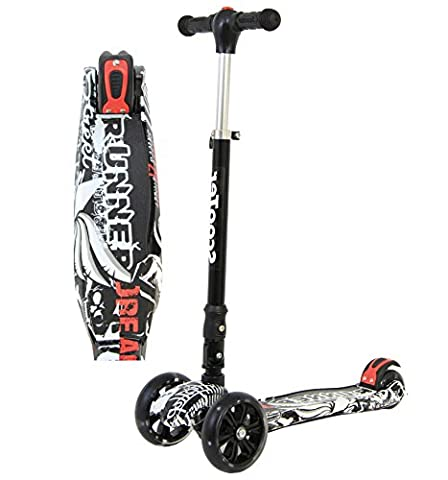 Edge Kids Scooter 3 Wheels - Foldable & Height Adjustable - with Flashing LED Lights (Black Edge)