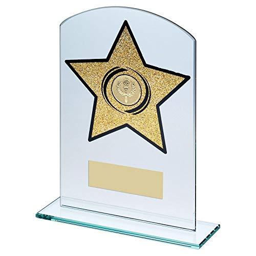 Lapal Dimension Jade Glas gewölbt rechteckig mit goldenem Glitzer Stern (2,5 cm) - 16,5 cm