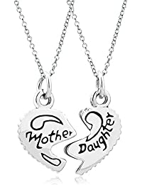 Pugster 2Pcs Heart Love Mother Daughter Charms Mum Necklace Pendant 18 inch Chain