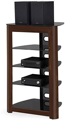 MDA Designs Zinnia Regal mit 5 Ebenen, Hochglanz, Walnussholz-Optik, Schwarz