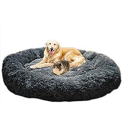 Telismei Deluxe Lit moelleux pour chien Extra Large Canapé Lavable Coussin rond Coussin pour chien de grande taille