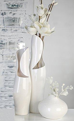 Vase Vienna Keramik weiß glasiert Krakelee-Optik Höhe 50 cm, Blumen, Deko