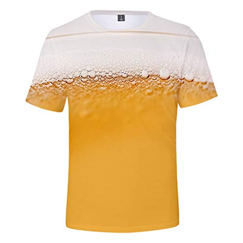 ToDIDAF Herren T-Shirt Sommer-Oktoberfest-Thema 3D-Druck Bier Muster Rundhals Kurzarm Bluse Top Gelb L (Bier Themen Kostüm)