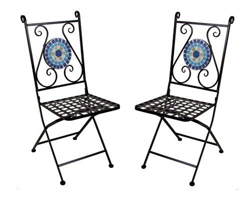 2x Mosaikstuhl - Balkonstuhl Gartenstuhl Bistrostuhl Klappstuhl Metall Stuhl