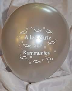 10 Luftballons Alles Gute zur Kommunion, SILBER mit weißem Aufdruck, ca. 30 cm Durchmesser