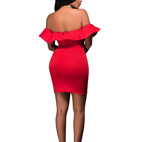 Damen ärmellos Kragen Volant Trägerlos BH Schlank Punk Kleid Minikleid Freizeitkleid Partykleid Bandeaukleider Empirekleider Rot