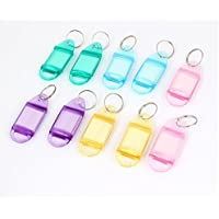In plastica, con nome e numero ID Tag-Etichette per portachiavi, 10 pezzi, colore: multicolore