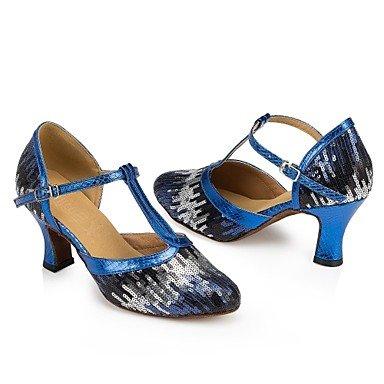 XIAMUO Anpassbare Damen Tanz Schuhe moderne Paillette angepasste Ferse Blau/Gold Gold