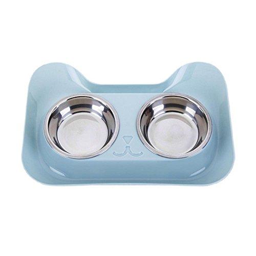 Aolvo Pet Food Futternapf mit Ablage im Wasser, für Hunde, Katzen, Edelstahl, niedliche Katze, rutschfest, mit Bowls-Halter für Welpen Kitty -