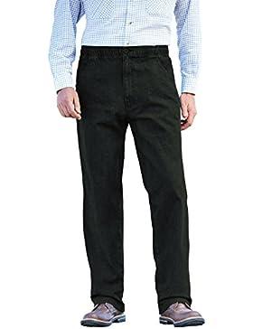 Uomo Elastico Cordino In Vita Black Denim Pantaloni Jeans