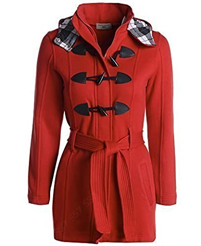 Girls Check Hood Coat Ages 7 to 13 (Age 9 - 10, Red)