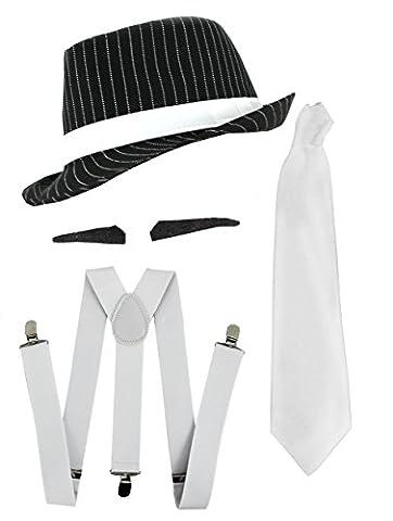 Gangster Kostüm der 1920er Reihe -Zubehör Set Deluxe - Weiß Hosenträger + Weiße Krawatte + Schwarzer Spiv/Schnurrbart + Schwarzer (Al Capone Kostüm)