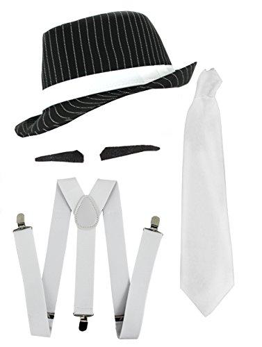 ILOVEFANCYDRESS Gangster Kostüm der 1920er Reihe -Zubehör Set Deluxe - Weiß Hosenträger + Weiße Krawatte + Schwarzer Spiv/Schnurrbart + Schwarzer Nadelstreifen-Fedora-Hut