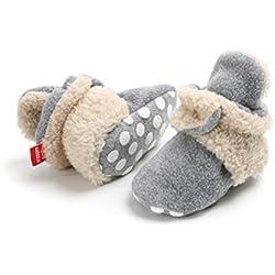 Botas de Niño Calcetín Invierno Soft Sole Crib Raya de Caliente Boots de Algodón para Bebés (12-18 Meses, Gris-Caqui)
