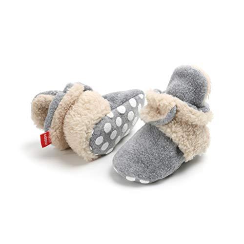 EDOTON Unisex Neugeborenes Schneestiefel Weiche Sohlen Streifen Bootie Kleinkind Stiefel Niedlich Stiefel Socke Einstellbar (6-12 Monate, Grau-Khaki)