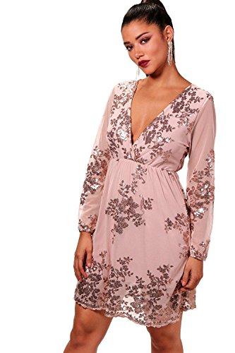 Nackt Damen Boutique Kara Embellished Mesh Skater Dress - S (Cami Embellished)