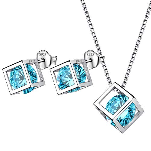 AuroraTears März Birthstone Halskette Ohrstecker 925 Sterling Silber Blau Aquamarin Quadrat Geburtsstein Schmuck Set Geschenke für Frauen und Mädchen DS0028M - Aquamarin-geburtsstein-set