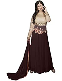 Monika Silk Mill Women's Brown Color Embroidered Party Wear Anarkali Suit
