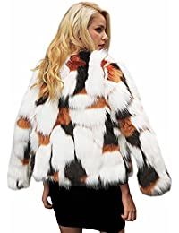 Simplee Apparel Damen Mantel Winter Elegant Warm Multicolor Faux Fur  Kunstfell Jacke Kurz Mantel Flaumig Coat d692da7575