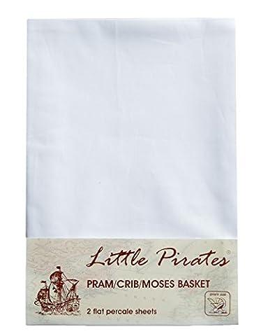 2 x Baby Pram/Crib/ Moses Basket White Flat Sheet 100% Luxury Brushed Cotton