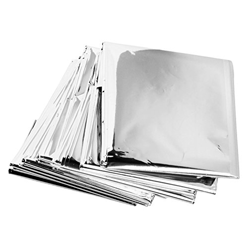 41eUEz6qvzL. SS500  - De feuilles CHIC-CHIC 5 Pack Emergency Survival Blankets Silver Mylar Reflective Thermal Blanket For Outdoors Hiking…