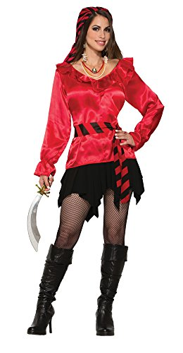 7 Pirate Lady rot Bluse (UK Größe 10–12) (Womens Pirate Wench Kostüm)
