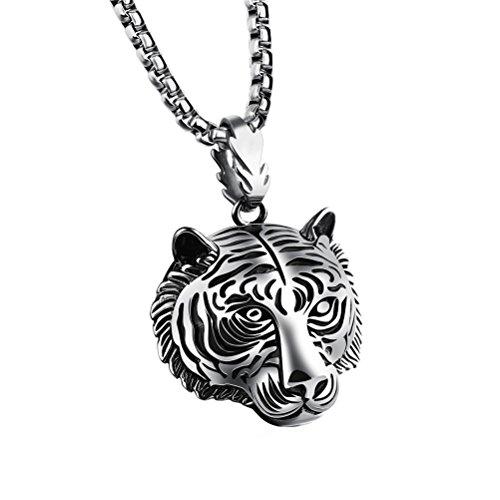 tahl Biker Hip Hop Tiger Kopf Anhänger Halskette Tier Design Silber (46-zoll-halskette)